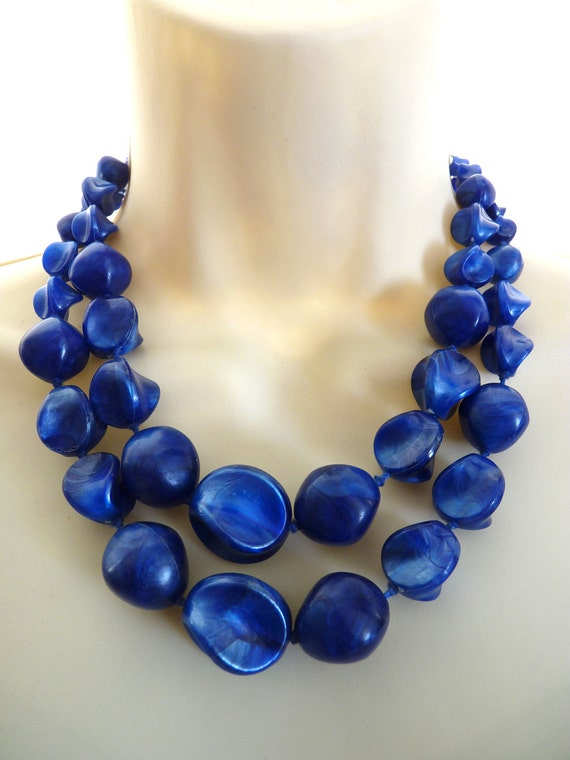 Vintage Double 2 Strand Necklace Plastic Chunky Blue Beads from Germany