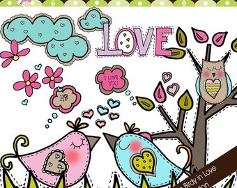 Doodle Birdy in Love Collection - Digital Cliparts - COMMERCIAL USE OK