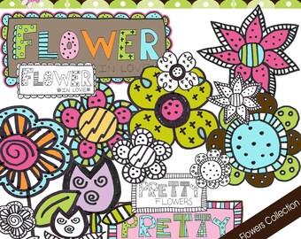 Doodle Retro Flowers Collection