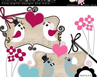 Wedding Birds Collection Cliparts - COMMERCIAL USE OK