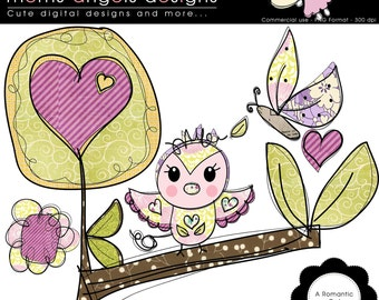 A Romantic Owl  Cliparts - COMMERCIAL USE OK
