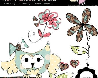 Little Owl Cliparts - COMMERCIAL USE OK