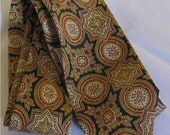 Vintage Hand Blocked Ancient Madder Skinny Silk Tie in Gold, Cream, Red and and Brown
