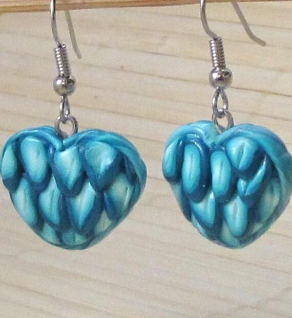 Blue Peacock Feather Dangle HEART Earrings -  Handmade polymer clay