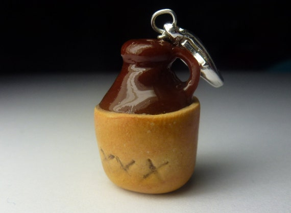 Moonshine Charm, Miniature Food Jewelry, Polymer Clay Food Moonshine Jug Food Charm