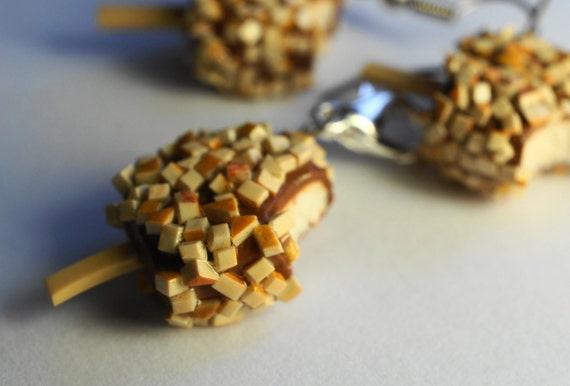 Ice Cream With Nuts charm, MIniture Food Jewelry, Food charm