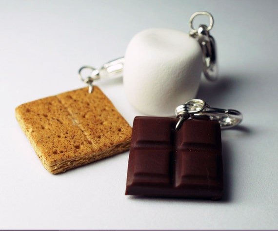 Smore Charm Collection, Miniature Food Jewelry, Polymer Clay Food Charms