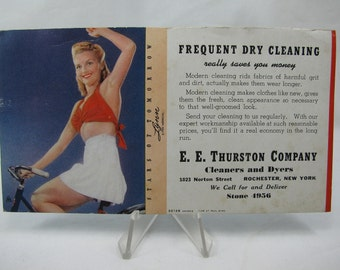Dry Cleaning Advertising Card Vintage 1940's