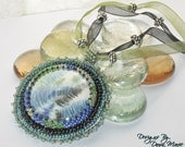 Fern Necklace Bead Embroidered Spring Colored with Green and Blue