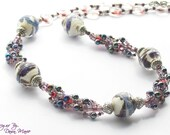 Purple Lampwork Glass and Seed Bead Spiral Necklace
