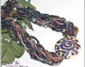 Pretty as a Peacock - Long Beaded Necklace - Designs by Dawn Marie Handcrafted Jewelry