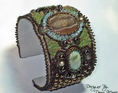 Druzy Agate Beaded Cuff Bracelet - Woodsy Colored Bead Embroidery Bracelet