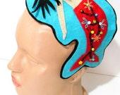 AOD-  Red Blue Felt Mermaid Headband Gift For Her