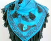 Spring Fashion, Turquoise - Black  Regional, Scarf ,Neckwarmer With Tassels and Felt Easter Bird Appliqued
