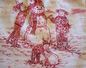 Red and White Winter Toile Perfect for Christmas or Winter--1 Yard--Destash