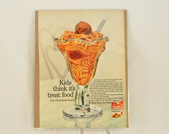 VINTAGE AD - Chef Boy-R-Dee Spaghetti and Meat Balls.  Perfect to decorate your kitchen.
