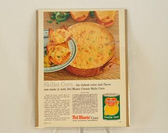 VINTAGE AD - Del Monte Cream Corn with recipe,  perfect to decorate your kitchen.