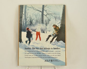 VINTAGE AD - ATT Long Distance family winter fun.  Perfect to decorate your family room.