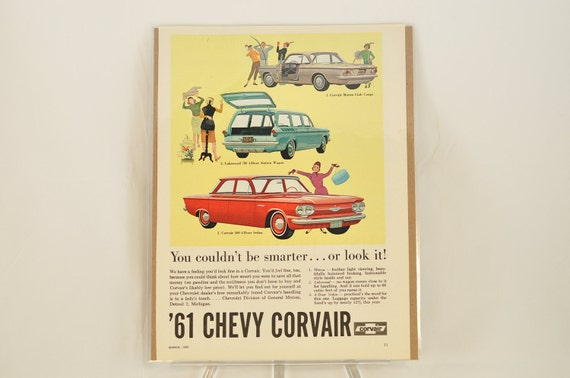 VINTAGE AD - 1961 Chevy Corvair.  Perfect gift for the car guy in your life