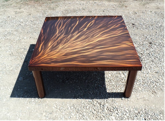 Copper Color Steel Coffee Cocktail Table Orange Brown