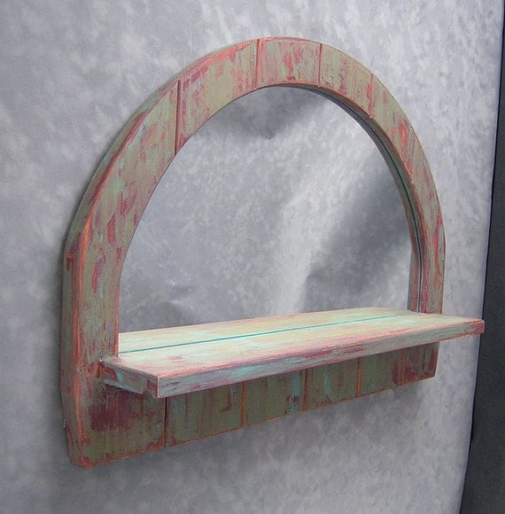 Painted Mirror Half Circle With Shelf