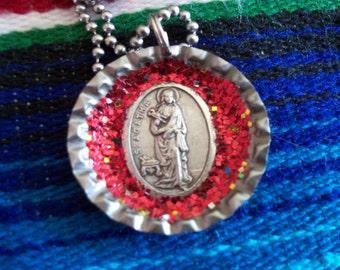 st. agatha upcycled bottle cap necklace