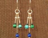 Turquoise, Malachite and Lapis Lazuli Multi-Dangle Earrings