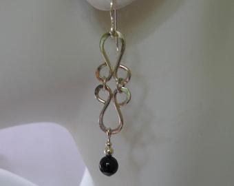 Sterling Silver Elegant Hammered Earrings with Black Onyx