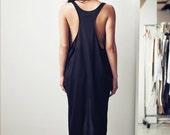 Curved Hem Racerback Tank Dress (M) Black