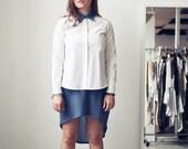 Long sleeve Colour Block Denim Shirt w/ Jersey Back (M) White