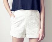 SALE 50% off (Regular 150) - Eyelet Shorts - M Ivory
