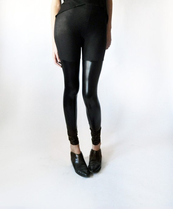 Over the knee stretch faux leather panel leggings.