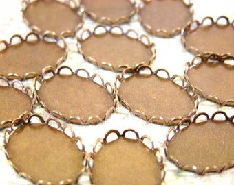 Four Dozen - 13x18mm Oval - Antiqued Brass Lace Edge Settings