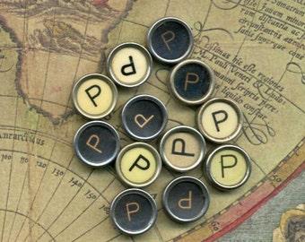 One Vintage Typewriter Key - The Letter P