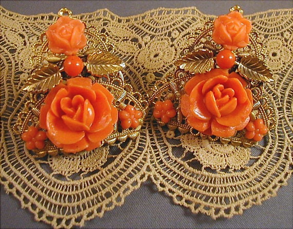 Pair of Vintage Filigree Carved Faux Coral Dress Clips