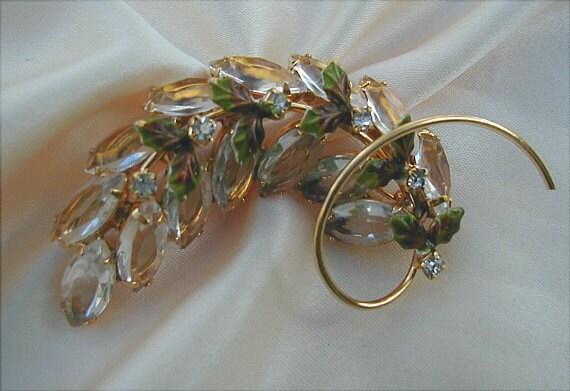 RESERVED for MaryStella Vintage Crystal Rhinestone Brooch with Enameled Leaves
