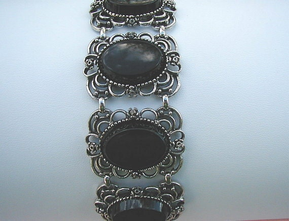 Vintage Emmons Antiqued Silvertone and Black Chunky Bracelet