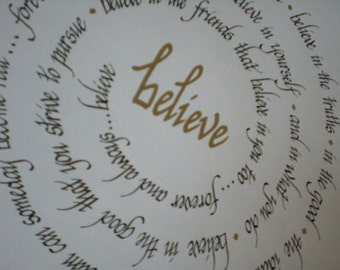 BELIEVE Sprial Quote - Calligraphy