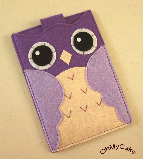 "Handmade Felt Kindle Case - Kindle 3 Cover - Kindle Fire Case - Kindle Touch Cover - Nook Case - Kindle Felt Sleeve - "" Purple Owl "" Design"