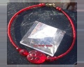 Red Beaded Anklet Ankle Bracelet Chakra Jewelry