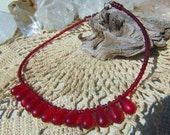 Christmas in July Red Ankle Anklet  Bracelet Root Chakra Jewelry XMAS in July CIJ