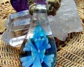 CLEARANCE Macrame Necklace with Blue Lampwork Flower Hemp Hippie Woodstock Boho Direct Checkout