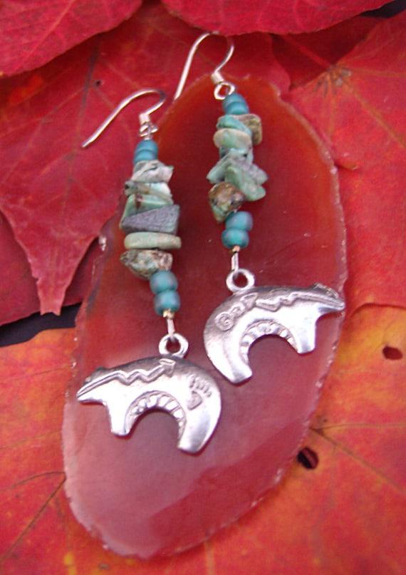 Turquoise Stone Earrings Hopi Bear Charm Earrings Chakra Jewelry