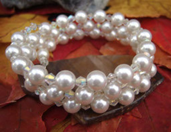 CLEARANCE Customer Appreciation Days Swarovski Pearls Bangle with Crystals Crown Chakra Jewelry Direct Checkout Woman