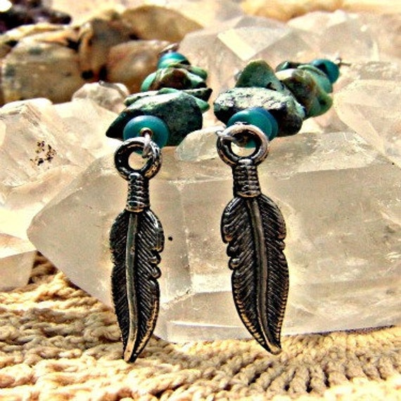 Christmas in July Turquoise Stone Earrings Charm Feather Earrings Throat Chakra Jewelry CIJ XMAS in July