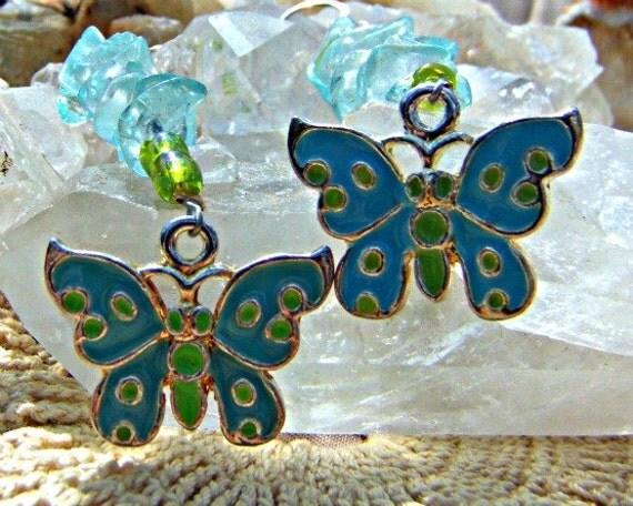 Christmas in July Blue Quartz Butterfly Earrings Chakra Jewelry Xmas in July CIJ