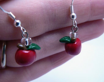Apple Earrings made with  polymer clay