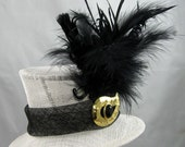 Black and White Mini Top Hat Fascinator Kentucky Derby Wedding Hat