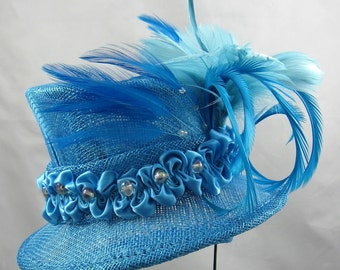 Turquoise Mini Top Hat Kentucky Derby or Wedding Hat