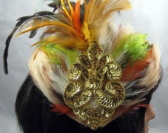 Feather Fascinator - Fleur de Lis